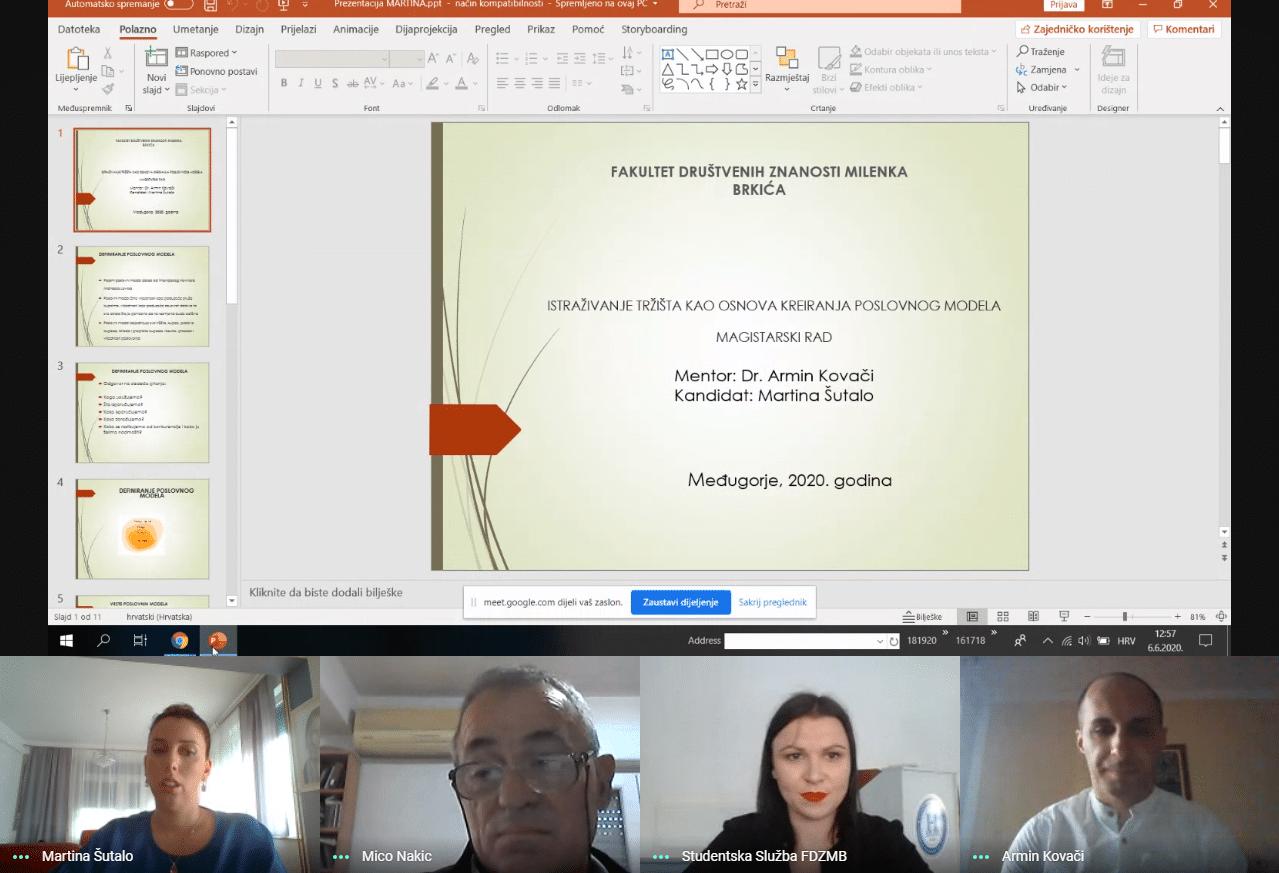 Održana online obrana diplomskog rada